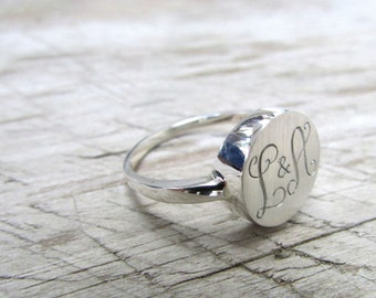 Engraved ring personalized ring custom ring initial ring monogram ring