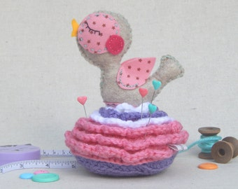 Pin Cushion Chirpy Birdy on a Flower