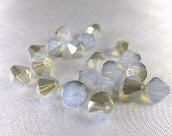 20 White Opal Satin Light Blue 6mm bicones Swarovski #5301 bicone crystal jewelry beads