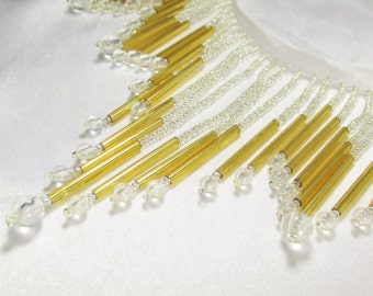 All Glass Silver, Gold and Clear Beaded Fringe - Elegant 5 inch long decorator trim