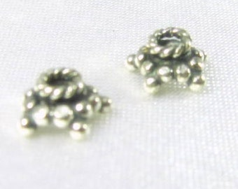2 Bali .925 Sterling 7.4mm x 3.6mm bead caps 1 pair