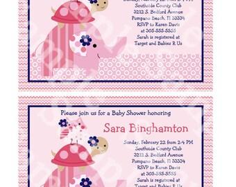 Ellie/Elephant/Turtle/Owl Stacked Digital Baby Shower 5x7 inch Invitation Editable PDF Instant Download