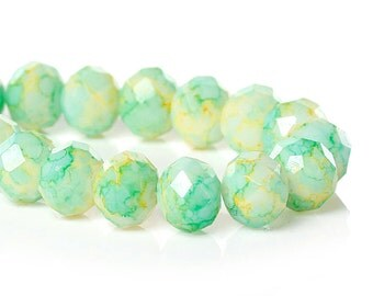 "20 Crystal Glass Beads - Cool Pastel Blue Green & Yellow - Faceted Glass Beads - 10mm (3/8"") - BD787"