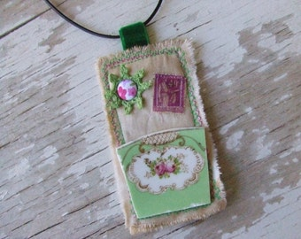 FREE Postage worldwide - Bohemian Necklace - Mosaic and Fabric Necklace - Mixed media necklace - assemblage - French stamps