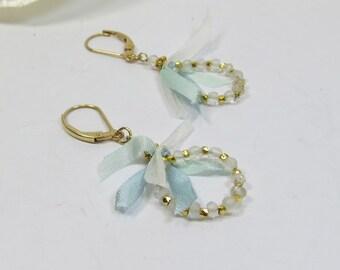 Topaz Gemstone Hoop Earrings with Blue Silk Ribbon, Facet White Topaz w Blue Silk & Vermeil and 14kt GF Earrings, Delicate Handmade Earrings
