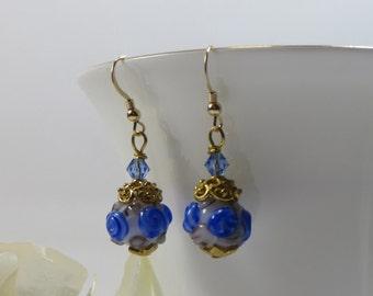 Blue Tea Rose Earrings, Beautiful Handmade Lampwork Beads American Artist Glass Blue Roses w Swarovski 14KT GF & 925 Gold Vermeil Earrings
