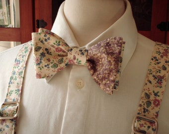 Men's Floral Suspender And Bow Ties / Custom Made Pre-tied Bow Tie / Mens Shabby Chic Vintage Wedding / Wedding Bow Ties And Suspenders