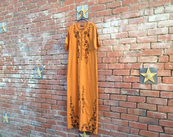 Heart of Gold Dress // 60s 70s Maxi Hippie Boho Bohemian Gold Embroidered Dress Small Goldenrod Mustard Orange Yellow