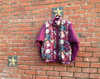 BARGAIN BIN! Hotel Paris Silk Jacket // 80s 90s Silk Windbreaker Paris Europe Travel Print Quilted Sleeves