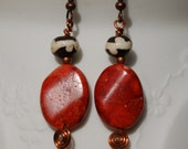 Sponge Coral with Dyed Bone Earrings.......item number366