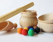 Natural Wood Learning Toy Set*SCOOP n GRAB*Montessori Materials*Waldorf Wood Toy* Wooden Toys* Rainbow Educational Transferring Game-