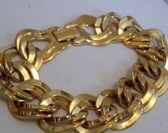 Vintage bracelet, signed Monet chunky gold plated links hinged cuff bracelet, designer jewelry