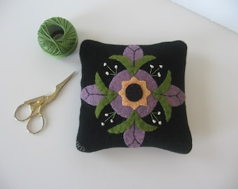 Primitive Wool Pincushion with Purple Flower  Applique JKB