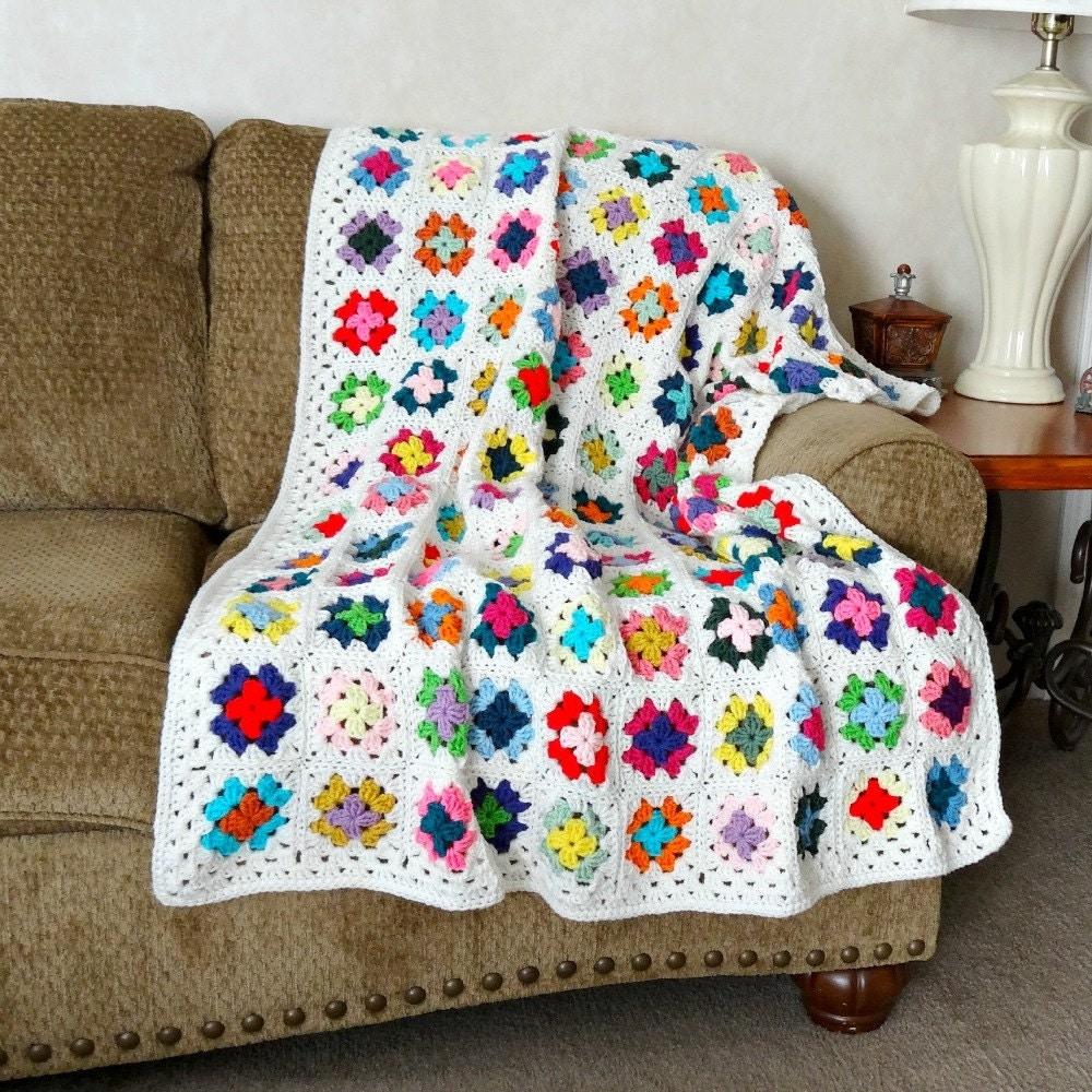 Crochet Afghan Granny Square Blanket Crochet by ...