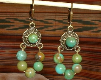 Natural GreenTurquoise and Brass Earrings