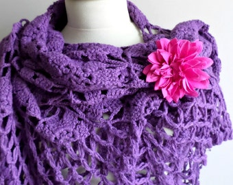 Purple  Shawl,  Large Triangle Shawl By Crochetlab Gift for Mom, Ready To Ship, Gift for Her