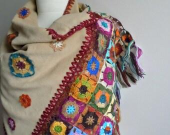 Beige Shawl, Crocheted Flowers on Polar Cloth, OOAK, Special Design