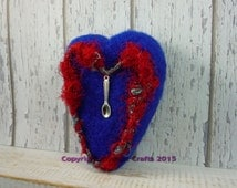 Chronic illness, Invisible illness, Spoon Theory, Needle felted heart, Crohn's disease, IBD, Fibromyalgia, OOAK heart, Illness gift,  unwell