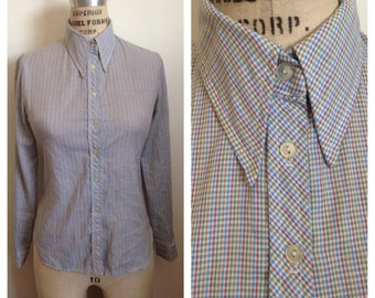 Vintage 1970s slim fit checkered button up shirt