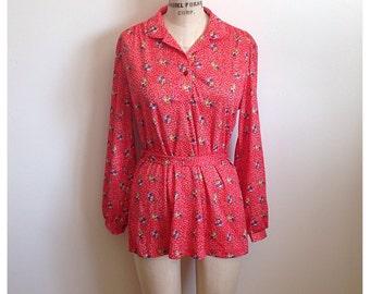 Vintage 1970s red floral blouse