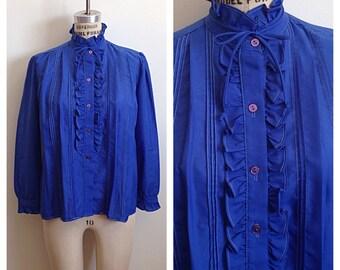 Vintage royal blue secretary blouse