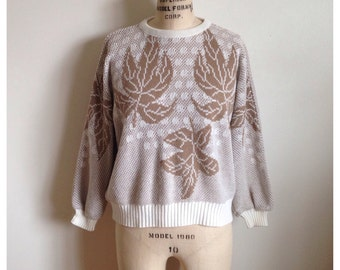 Vintage 80s White and Light Brown Maple Leaves Sweater
