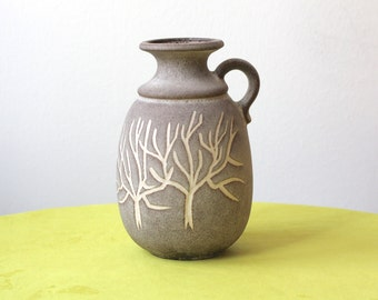 Vintage West German Pottery Handled Vase with White Stylized Trees