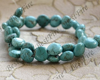 Single 11mm heart Turquoise gemstone beads, Turquoise Nugget  Gemstone Bead loose strands 15inch