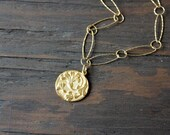 RESERVED for Shirley, Gold thistle pendant