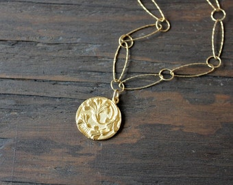 Gold thistle necklace, Scottish jewelry, unique gold necklace