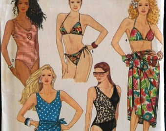 Simplicity 9750 Misses Bathing Suits Swimsuits and Sarong Vintage Sewing Pattern Sz 4-12