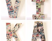 12 Inch Comic Book Letters, Pop Art, Custom Made, Pick 4 Letters
