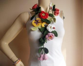 Ladybug  Crochet Scarf-Flower Necklace Scarf-Lariat Scarf-Handmade Long Scarf-OOAK