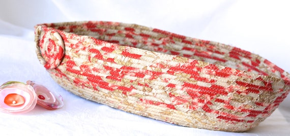 Shabby Chic Gift Basket, Decorative Bathroom Basket, Handmade Clothesline Fabric Bowl, Toiletries Organizer, Red Cat Bed Furniture