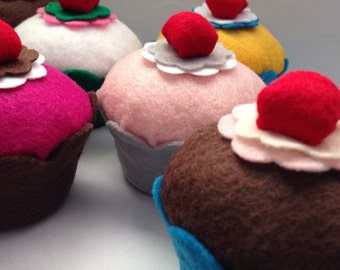 Felt Cupcake w/Cherry (Your Color Choice) - Photo Props, Birthday Parties, Play Food, Favors, Bakery, Pin Cushions, Gifts, Home Decor