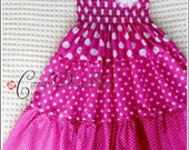 Hot pink maxi dress for girls , Little Girls Long Dress , Pink polka dot maxi dress , Pink tiered maxi dress, (Sizes 2T to 10 years)