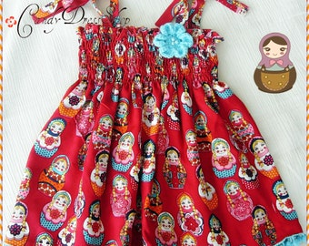 Red dress for girls - Matryoshka Dolls printed dress -Summer dress-Girls halter dress(Available in size 6m to 6Y ) Soft dress for baby girls
