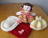 Hand Knitted Toy for Collectors - Doll in Bed - Knitted Bedtime Doll