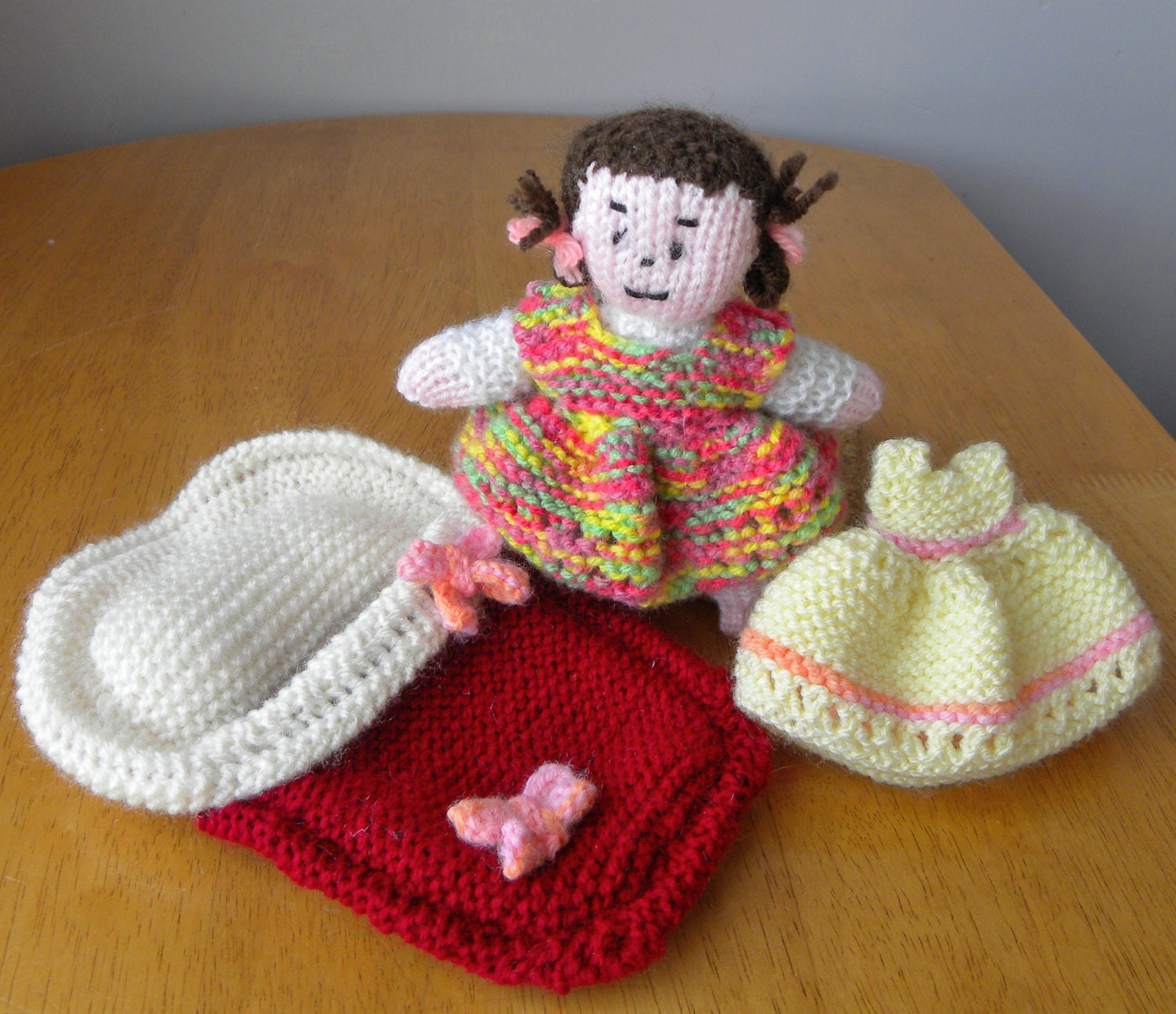 Knitting Patterns For Dolls Bedding : Hand Knitted Toy for Collectors Doll in Bed by PollysVintageBears