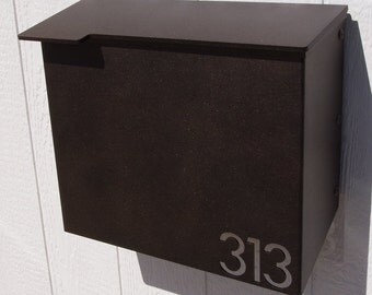 Custom House Number Mailbox No. 1711 Wrap-Front in Powder Coated Aluminum Modernist Edition