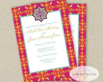 Pretty Moroccan Mehndi Invitation   Yellow and Hot Pink   Bridal Shower   Moroccan, Paisly flourish, star   Instant Download