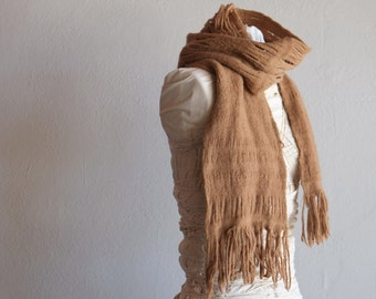 Walnut Brown - Handwoven and Felted Sculptural Scarf - Naturally Dyed Merino