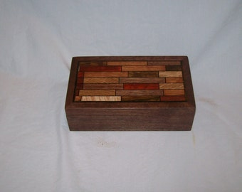 Walnut Parquet Pattern Box Smaller Design Handcrafted Keepsake Box Watch Box Jewelry Box.