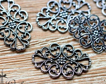 Antiqued Silver  plated RAW brass Filigree  Jewelry Connectors Setting Cab Base Connector Finding  (FILIG-AS-2)