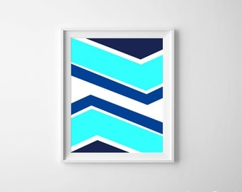Modern Tribal Arrows Nursery Kids Room Art Print Navy Turquoise Royal Blue more colors available