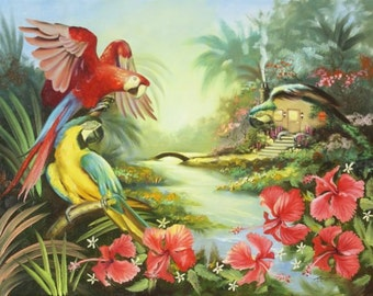 MACAW illusion by RUSTY RUST 30x40 oil painting on canvas / M-359