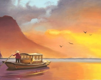 China boat, sunset large 24x36 original oils on canvas painting by RUSTY RUST / M-306