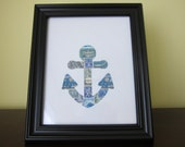 Postage Stamp Art - Anchor - Used Postage Stamps - Framed Postage Stamp Art - Wall Art - Anchor Art