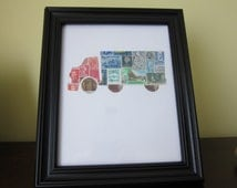 Postage Stamp Art -Semi Truck - Used Postage Stamps - Framed Postage Stamp Art - Wall Art - Truck, dump truck, pick up truck
