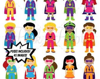 Girl Superheroes Clipart Clip Art, Superhero Girls Clip Art Clipart Vectors - Commercial and Personal Use